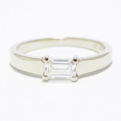 Horizontal Emerald Cut Diamond Engagement Ring