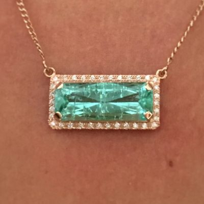 Paraiba tourmaline necklace with diamond pav in rose gold smd description aloadofball Image collections