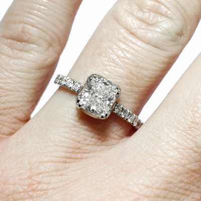 1 5 Ct Cushion Cut Diamond Engagement Ring With Diamond Pave Smd