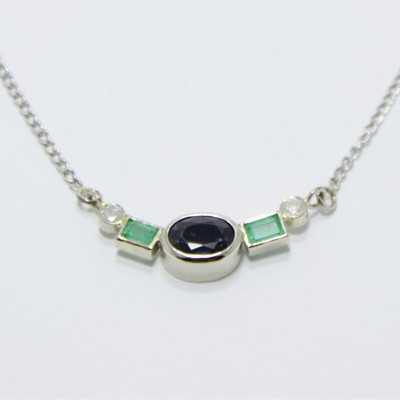 05ec2d090 Kék Zafír – Smaragd – Gyémánt, Fehér arany Nyaklánc | SMD