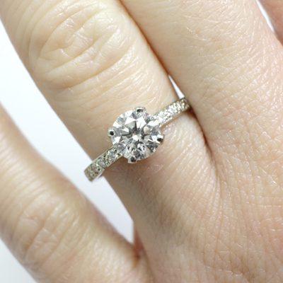 7e330d403 Sok köves fehérarany 1ct kerek gyémánt gyűrű   SMD